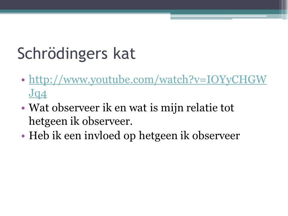 Schrödingers kat http://www.youtube.com/watch?v=IOYyCHGW Jq4http://www.youtube.com/watch?v=IOYyCHGW Jq4 Wat observeer ik en wat is mijn relatie tot hetgeen ik observeer.