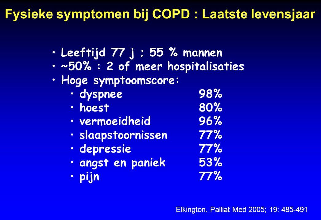 Fysieke symptomen bij COPD : Laatste levensjaar Elkington. Palliat Med 2005; 19: 485-491 Leeftijd 77 j ; 55 % mannen ~50% : 2 of meer hospitalisaties