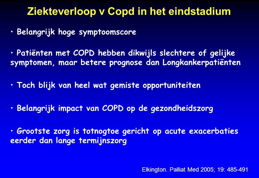 Ziekteverloop v Copd in het eindstadium Elkington. Palliat Med 2005; 19: 485-491 Belangrijk hoge symptoomscore Patiënten met COPD hebben dikwijls slec