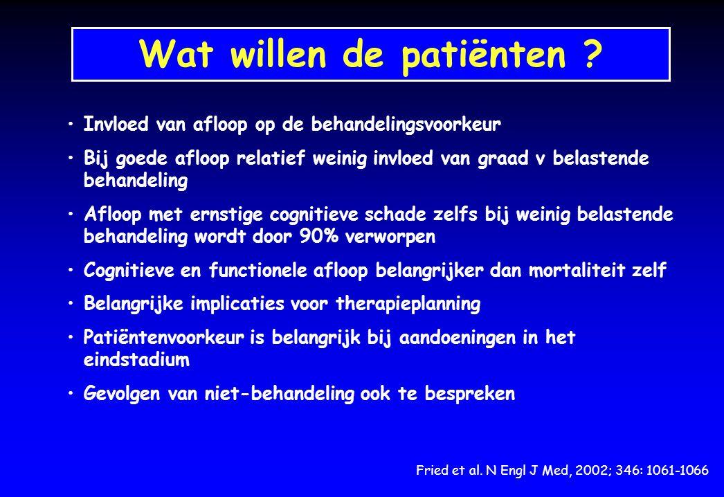 Wat willen de patiënten ? Fried et al. N Engl J Med, 2002; 346: 1061-1066 Invloed van afloop op de behandelingsvoorkeur Bij goede afloop relatief wein