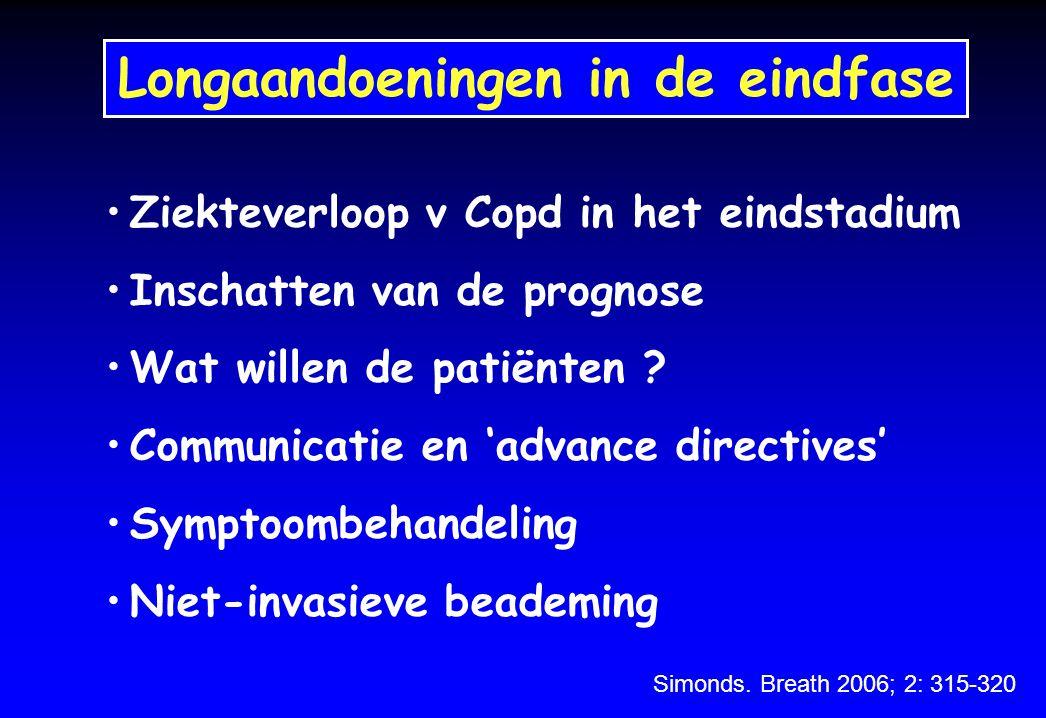 Niet-invasieve beademing bij acute exacerbaties van COPD Afname in mortaliteit van 20 - 10% Minder nood tot intubatie Minder ICU opnames Snellere verlichting van dyspnee