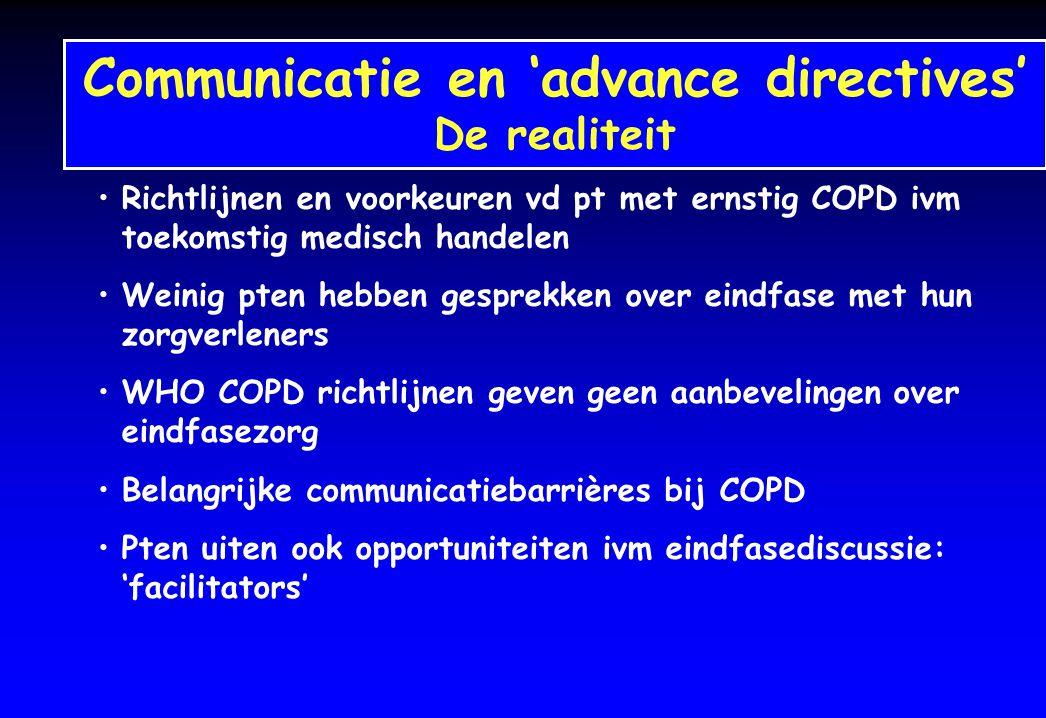 Richtlijnen en voorkeuren vd pt met ernstig COPD ivm toekomstig medisch handelen Weinig pten hebben gesprekken over eindfase met hun zorgverleners WHO