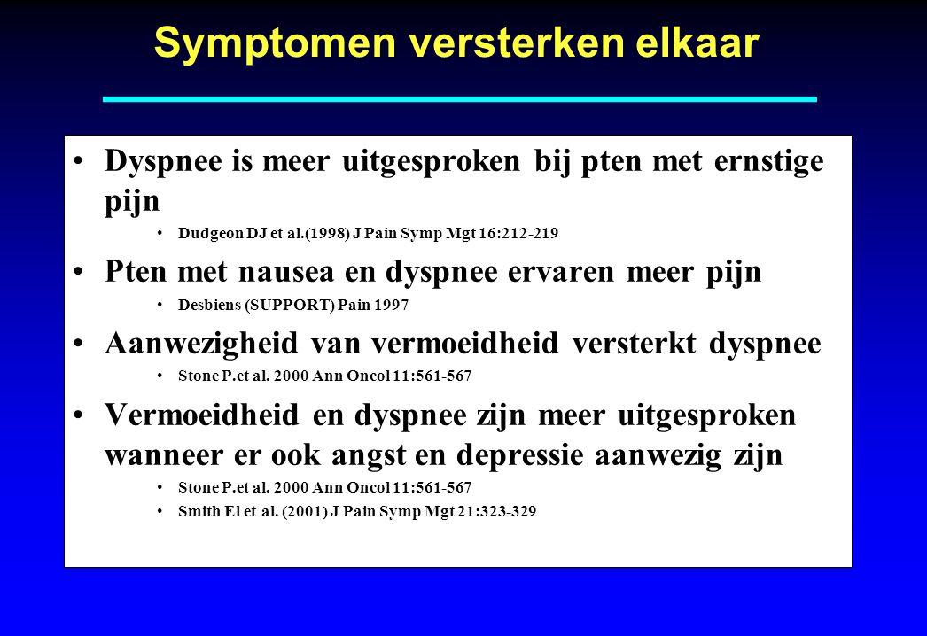 Symptomen versterken elkaar Dyspnee is meer uitgesproken bij pten met ernstige pijn Dudgeon DJ et al.(1998) J Pain Symp Mgt 16:212-219 Pten met nausea