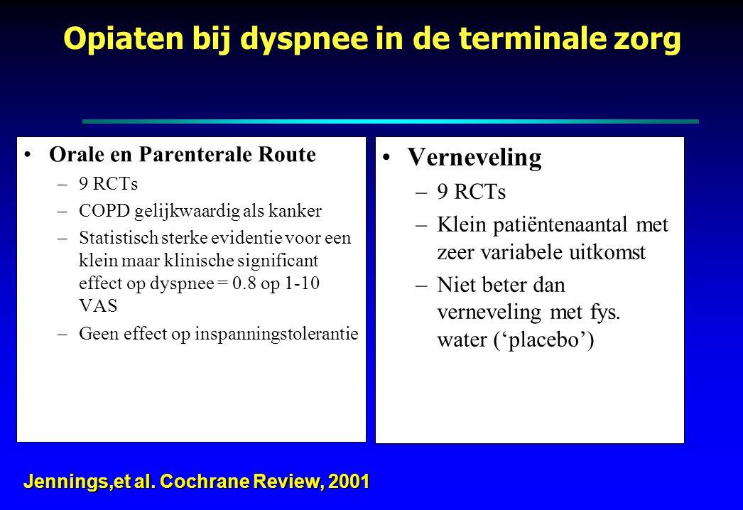 Orale en Parenterale Route –9 RCTs –COPD gelijkwaardig als kanker –Statistisch sterke evidentie voor een klein maar klinische significant effect op dy
