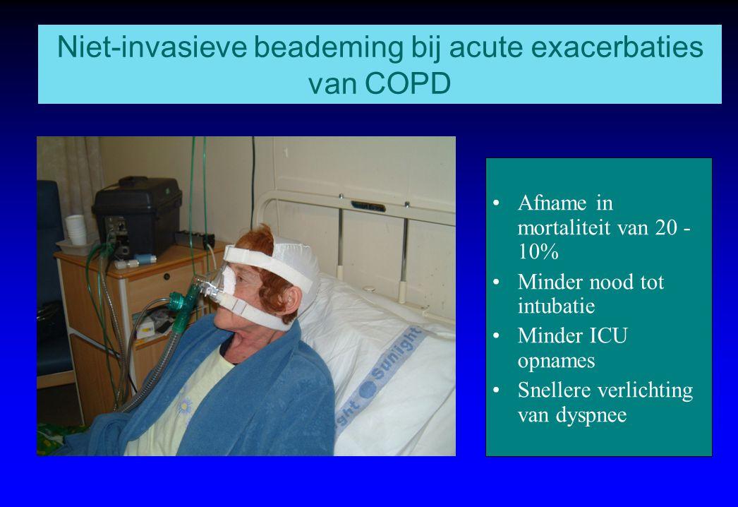 Niet-invasieve beademing bij acute exacerbaties van COPD Afname in mortaliteit van 20 - 10% Minder nood tot intubatie Minder ICU opnames Snellere verl