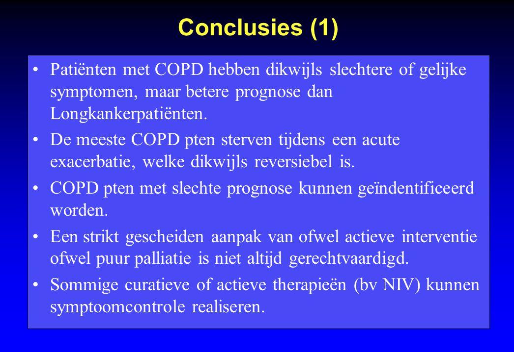 Conclusies (1) Patiënten met COPD hebben dikwijls slechtere of gelijke symptomen, maar betere prognose dan Longkankerpatiënten. De meeste COPD pten st