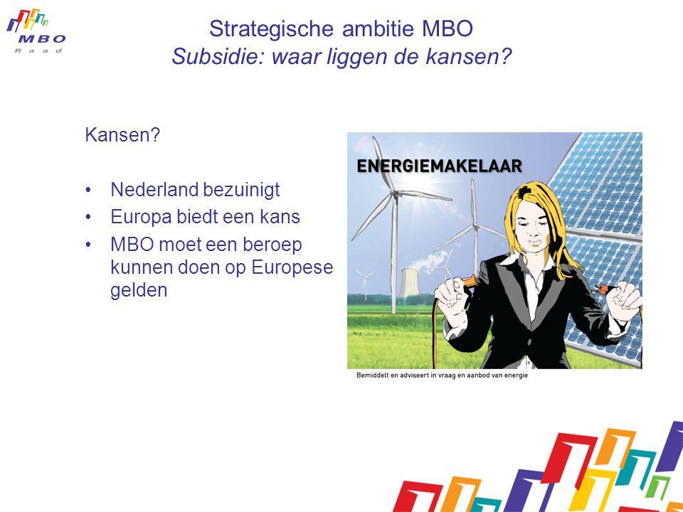 Strategische ambitie MBO Subsidie: waar liggen de kansen.