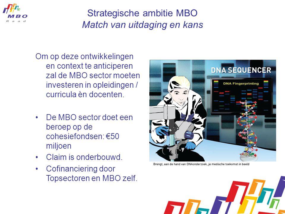 Strategische ambitie MBO Match van uitdaging en kans Om op deze ontwikkelingen en context te anticiperen zal de MBO sector moeten investeren in opleidingen / curricula èn docenten.
