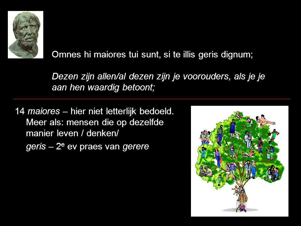 Omnes hi maiores tui sunt, si te illis geris dignum; Dezen zijn allen/al dezen zijn je voorouders, als je je aan hen waardig betoont; 14 maiores – hie