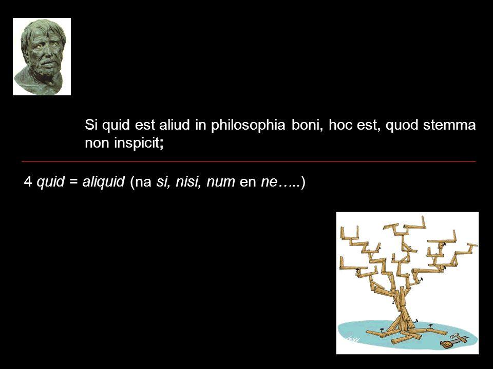 Si quid est aliud in philosophia boni, hoc est, quod stemma non inspicit; 4 quid = aliquid (na si, nisi, num en ne…..)