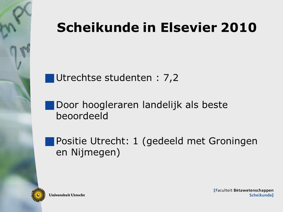 6 Scheikunde in Elsevier 2010  Utrechtse studenten : 7,2  Door hoogleraren landelijk als beste beoordeeld  Positie Utrecht: 1 (gedeeld met Groninge