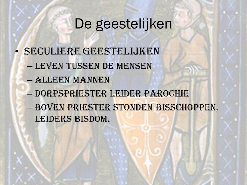 De geestelijken Seculiere geestelijken – Leven tussen de mensen – Alleen mannen – Dorpspriester leider parochie – Boven priester stonden bisschoppen,