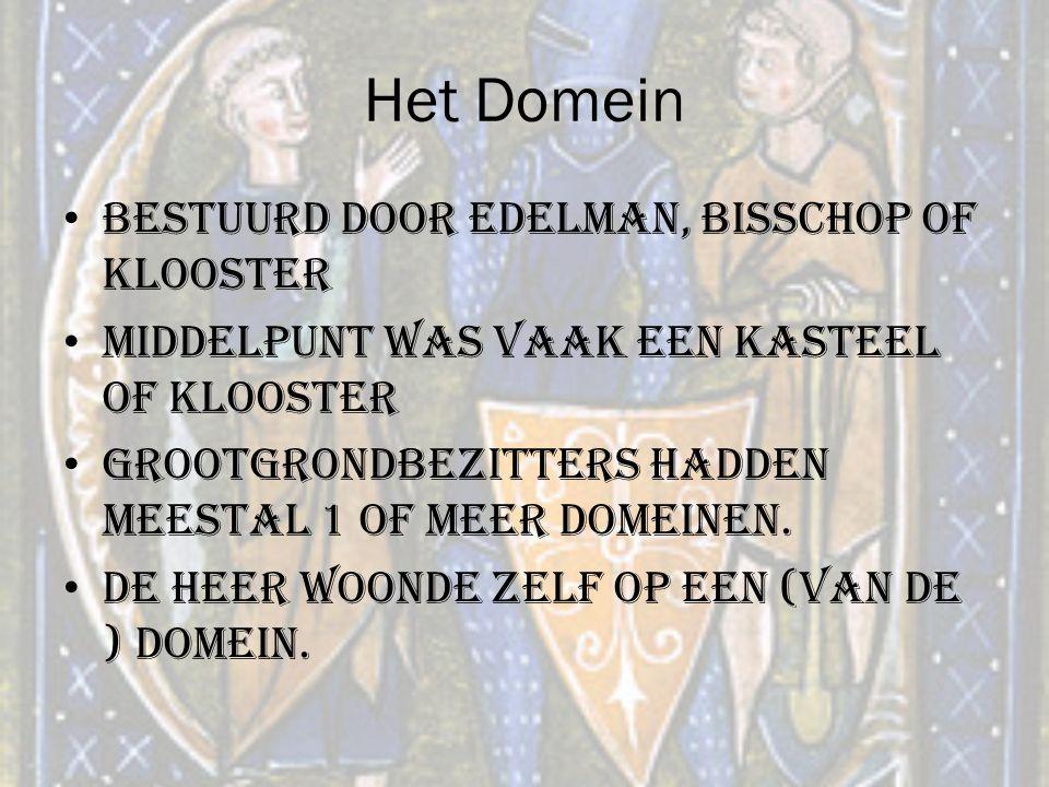 Het Domein Bestuurd door edelman, bisschop of klooster Middelpunt was vaak een kasteel of klooster Grootgrondbezitters hadden meestal 1 of meer domein