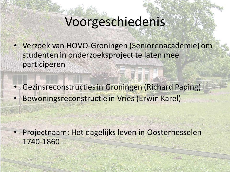 Voorgeschiedenis Verzoek van HOVO-Groningen (Seniorenacademie) om studenten in onderzoeksproject te laten mee participeren Gezinsreconstructies in Gro