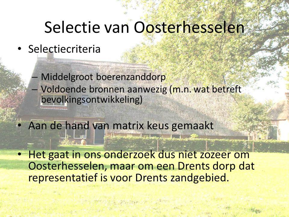 Selectie van Oosterhesselen Selectiecriteria – Middelgroot boerenzanddorp – Voldoende bronnen aanwezig (m.n. wat betreft bevolkingsontwikkeling) Aan d