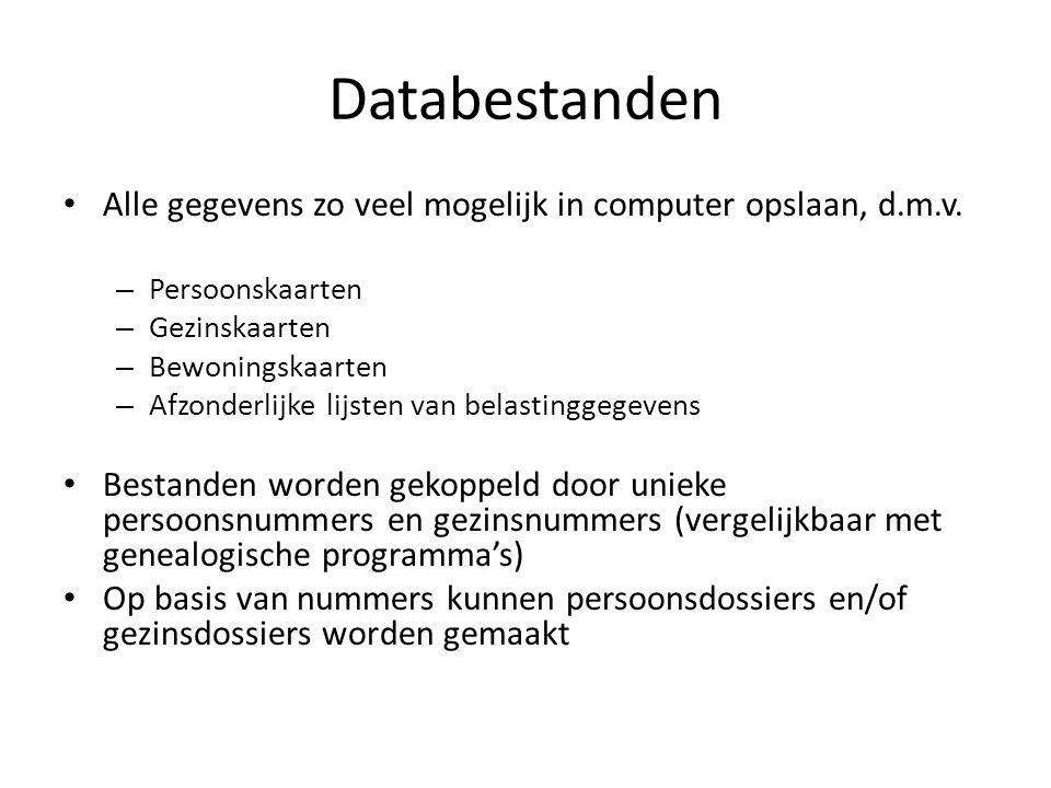 Databestanden Alle gegevens zo veel mogelijk in computer opslaan, d.m.v. – Persoonskaarten – Gezinskaarten – Bewoningskaarten – Afzonderlijke lijsten