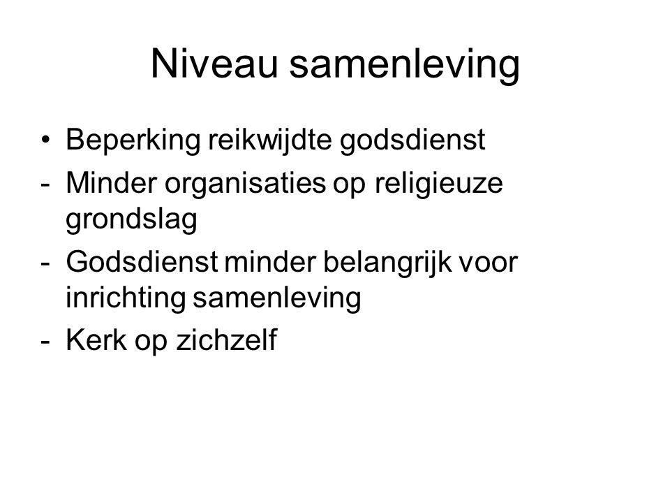 Niveau samenleving Beperking reikwijdte godsdienst -Minder organisaties op religieuze grondslag -Godsdienst minder belangrijk voor inrichting samenleving -Kerk op zichzelf