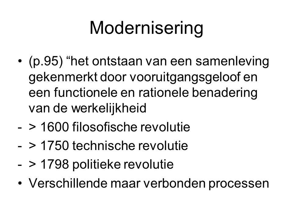 Modernisering (p.95) het ontstaan van een samenleving gekenmerkt door vooruitgangsgeloof en een functionele en rationele benadering van de werkelijkheid -> 1600 filosofische revolutie -> 1750 technische revolutie -> 1798 politieke revolutie Verschillende maar verbonden processen
