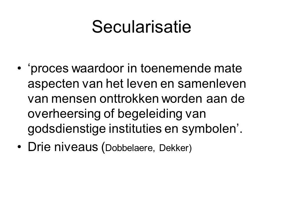 Secularisatie 'proces waardoor in toenemende mate aspecten van het leven en samenleven van mensen onttrokken worden aan de overheersing of begeleiding