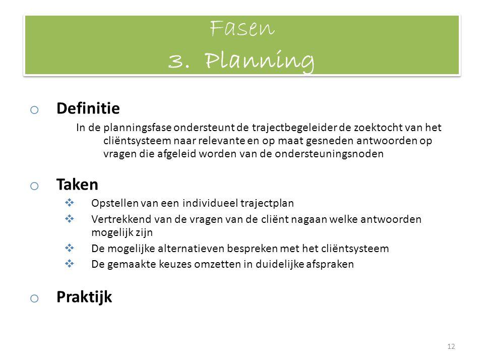Fasen 3. Planning o Definitie In de planningsfase ondersteunt de trajectbegeleider de zoektocht van het cliëntsysteem naar relevante en op maat gesned