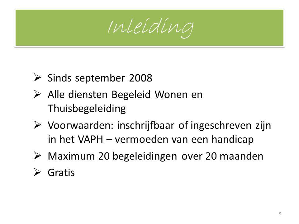 Inleiding  Sinds september 2008  Alle diensten Begeleid Wonen en Thuisbegeleiding  Voorwaarden: inschrijfbaar of ingeschreven zijn in het VAPH – ve