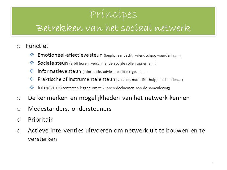 Principes Betrekken van het sociaal netwerk o Functie :  Emotioneel-affectieve steun (begrip, aandacht, vriendschap, waardering,…)  Sociale steun (e