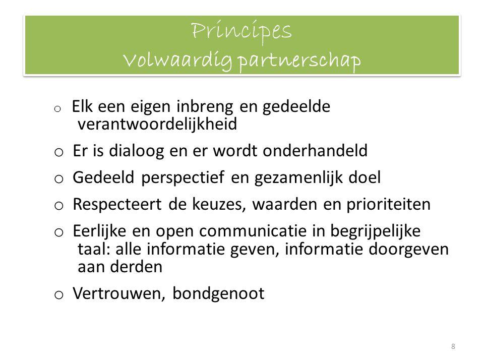 Principes Volwaardig partnerschap o Elk een eigen inbreng en gedeelde verantwoordelijkheid o Er is dialoog en er wordt onderhandeld o Gedeeld perspect