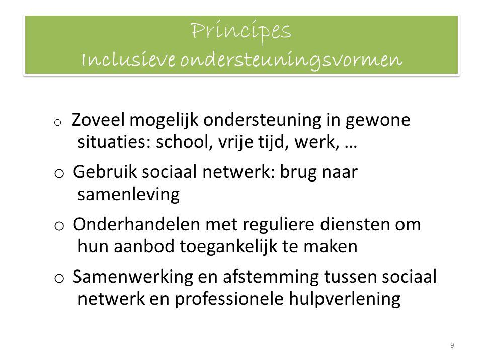 Principes Inclusieve ondersteuningsvormen o Zoveel mogelijk ondersteuning in gewone situaties: school, vrije tijd, werk, … o Gebruik sociaal netwerk: