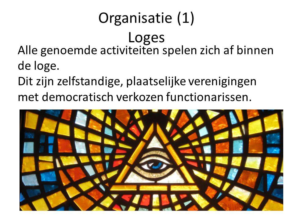 Organisatie (1) Loges Alle genoemde activiteiten spelen zich af binnen de loge. Dit zijn zelfstandige, plaatselijke verenigingen met democratisch verk