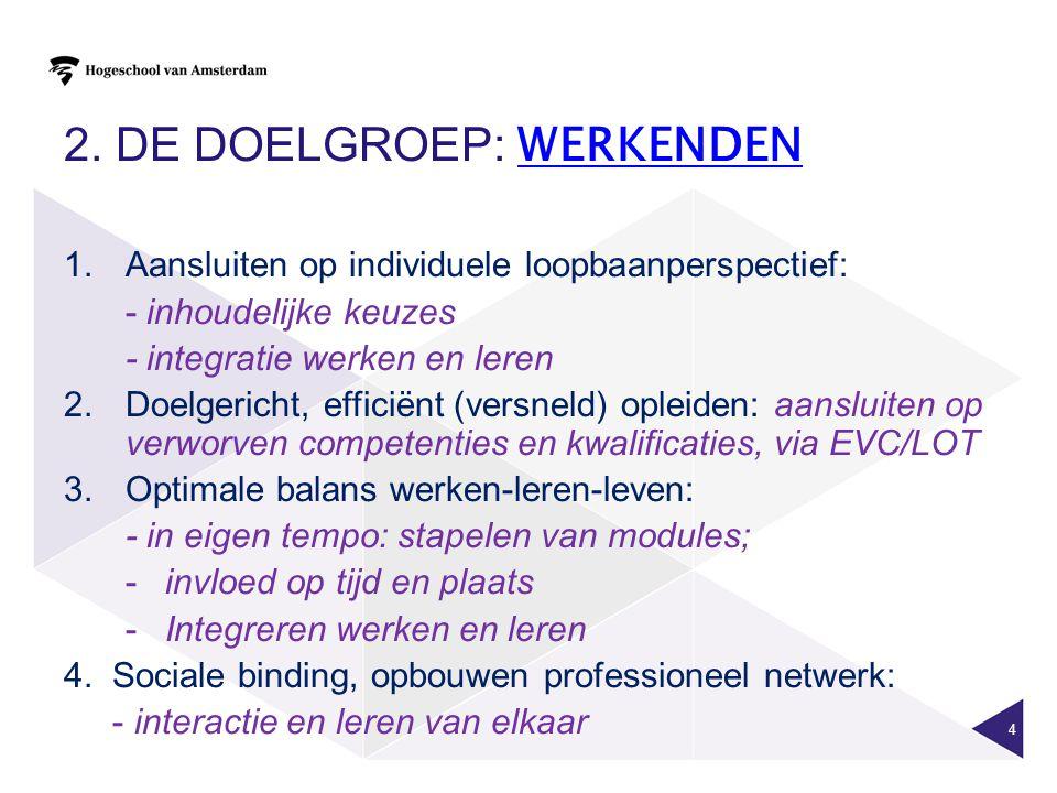 2. DE DOELGROEP: WERKENDEN WERKENDEN 1.Aansluiten op individuele loopbaanperspectief: - inhoudelijke keuzes - integratie werken en leren 2. Doelgerich