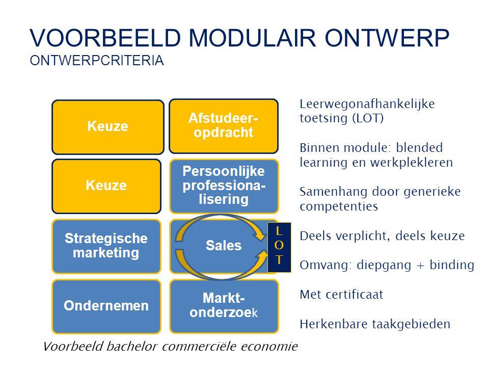 VOORBEELD MODULAIR ONTWERP ONTWERPCRITERIA Keuze Strategische marketing Persoonlijke professiona- lisering Sales Markt- onderzoe k Afstudeer- opdracht