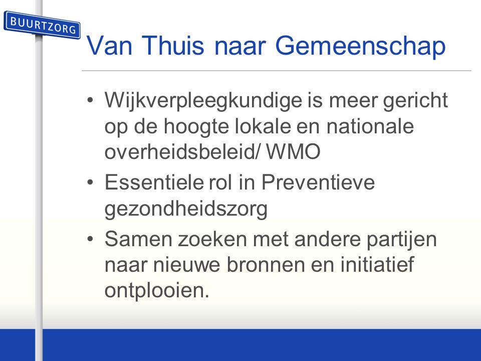 Van Thuis naar Gemeenschap Wijkverpleegkundige is meer gericht op de hoogte lokale en nationale overheidsbeleid/ WMO Essentiele rol in Preventieve gez