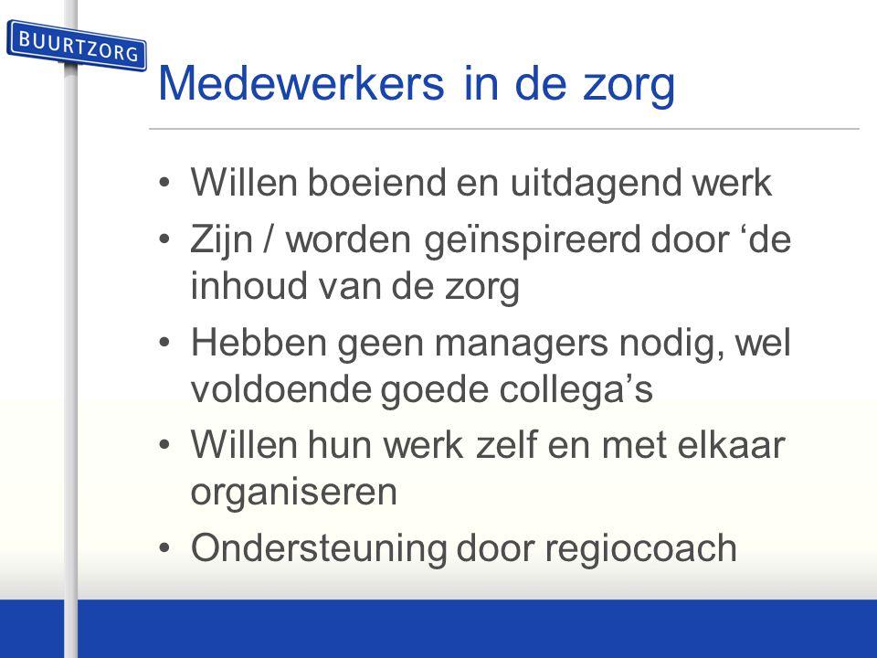 Medewerkers in de zorg Willen boeiend en uitdagend werk Zijn / worden geïnspireerd door 'de inhoud van de zorg Hebben geen managers nodig, wel voldoen