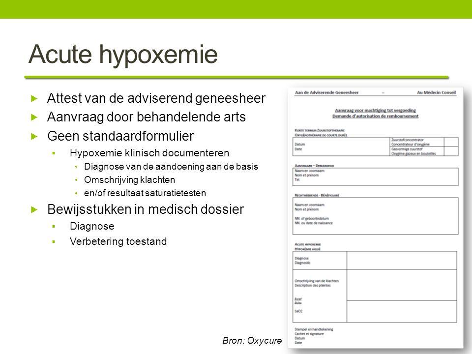 Acute hypoxemie  Attest van de adviserend geneesheer  Aanvraag door behandelende arts  Geen standaardformulier  Hypoxemie klinisch documenteren Di