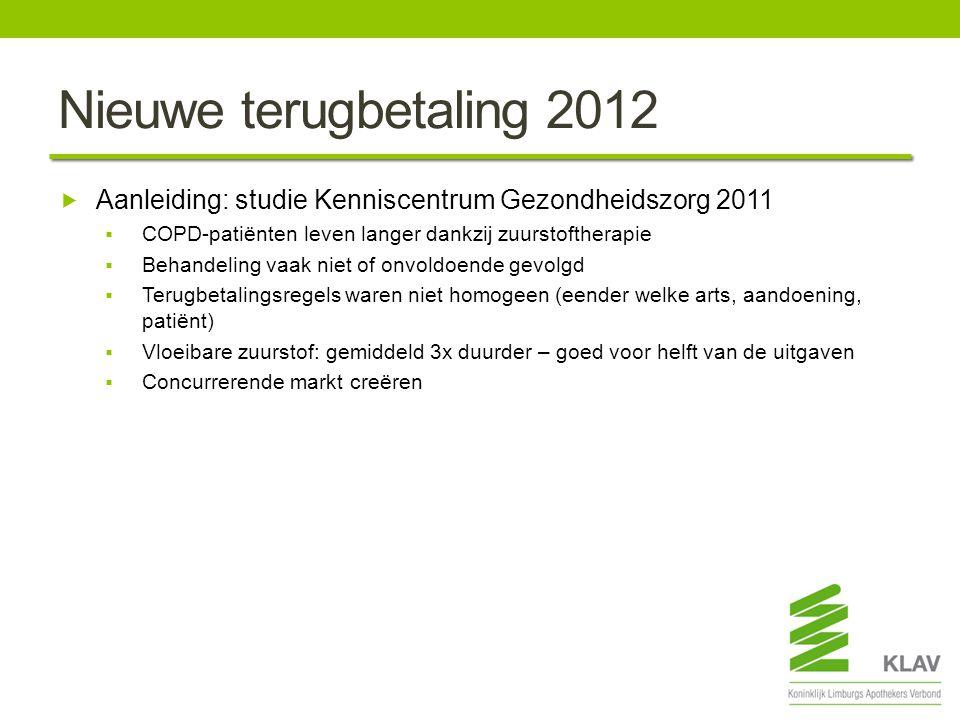 Nieuwe terugbetaling 2012  Aanleiding: studie Kenniscentrum Gezondheidszorg 2011  COPD-patiënten leven langer dankzij zuurstoftherapie  Behandeling