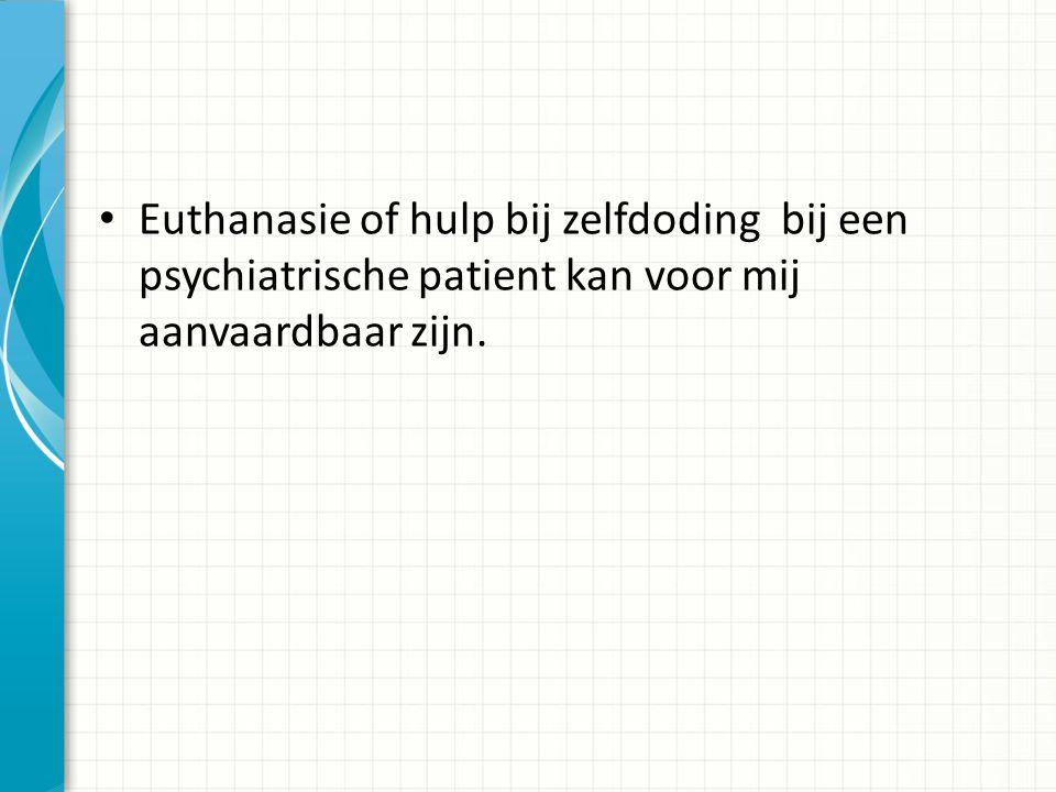 Euthanasie of hulp bij zelfdoding bij een psychiatrische patient kan voor mij aanvaardbaar zijn.