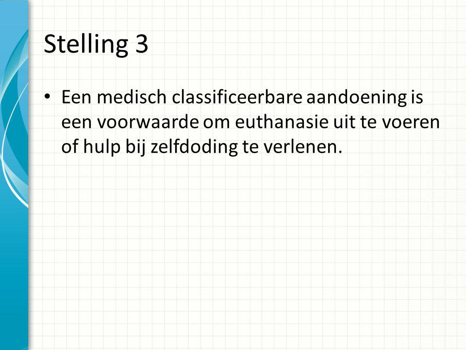 Stelling 4 Een mix van medische- en niet medische problemen kan leiden tot ondragelijk lijden in de zin van de Euthanasiewet.