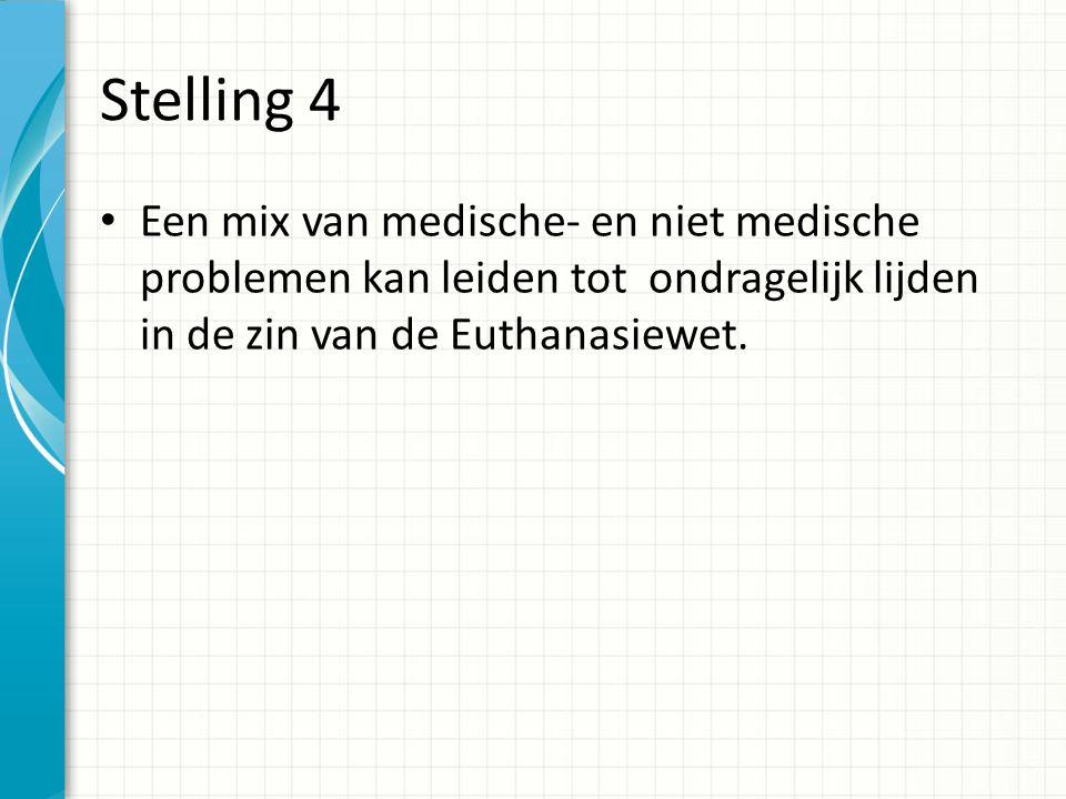 Stelling 5 De Euthanasiewet biedt geen ruimte om hulp te bieden bij een verzoek tot levensbeeindiging van patienten met dementie.