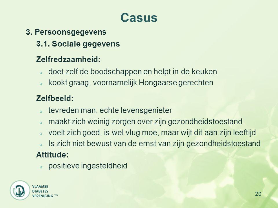 20 Casus 3. Persoonsgegevens 3.1. Sociale gegevens Zelfredzaamheid: doet zelf de boodschappen en helpt in de keuken kookt graag, voornamelijk Hongaars