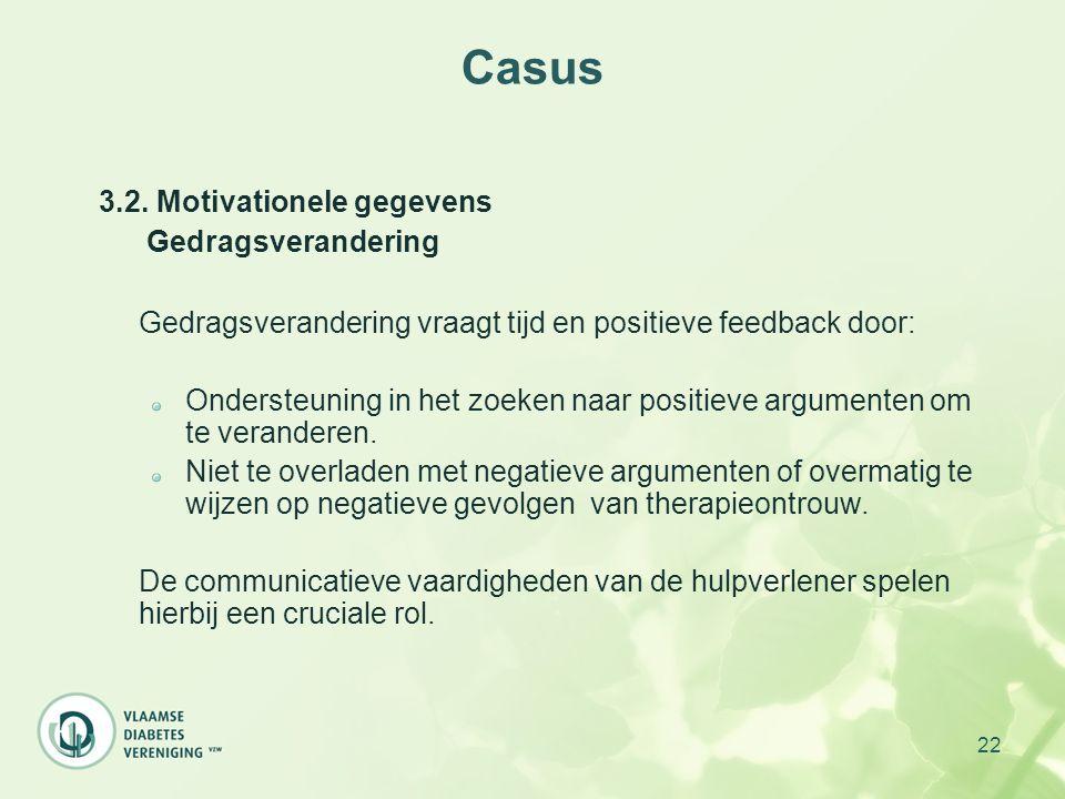 22 Casus 3.2. Motivationele gegevens Gedragsverandering Gedragsverandering vraagt tijd en positieve feedback door: Ondersteuning in het zoeken naar po