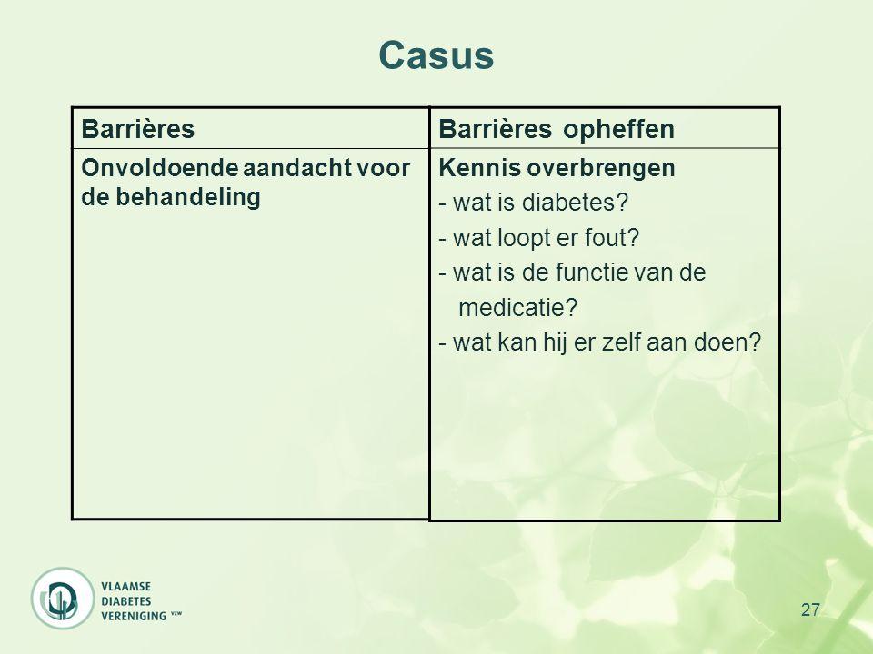 27 Casus Barrières Onvoldoende aandacht voor de behandeling Barrières opheffen Kennis overbrengen - wat is diabetes? - wat loopt er fout? - wat is de