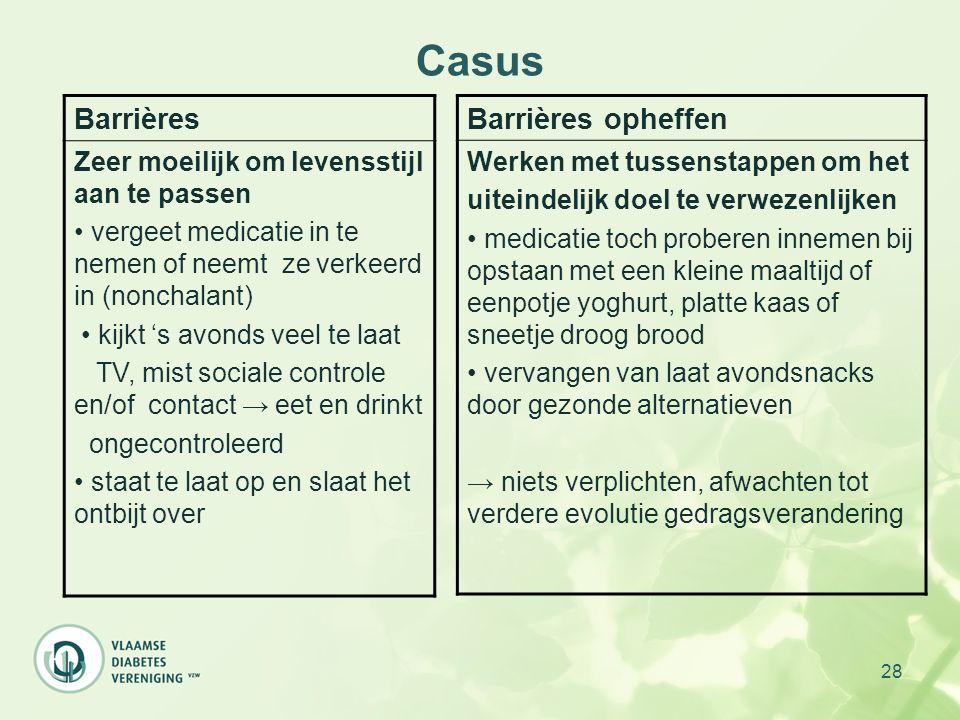 28 Casus Barrières Zeer moeilijk om levensstijl aan te passen vergeet medicatie in te nemen of neemt ze verkeerd in (nonchalant) kijkt 's avonds veel