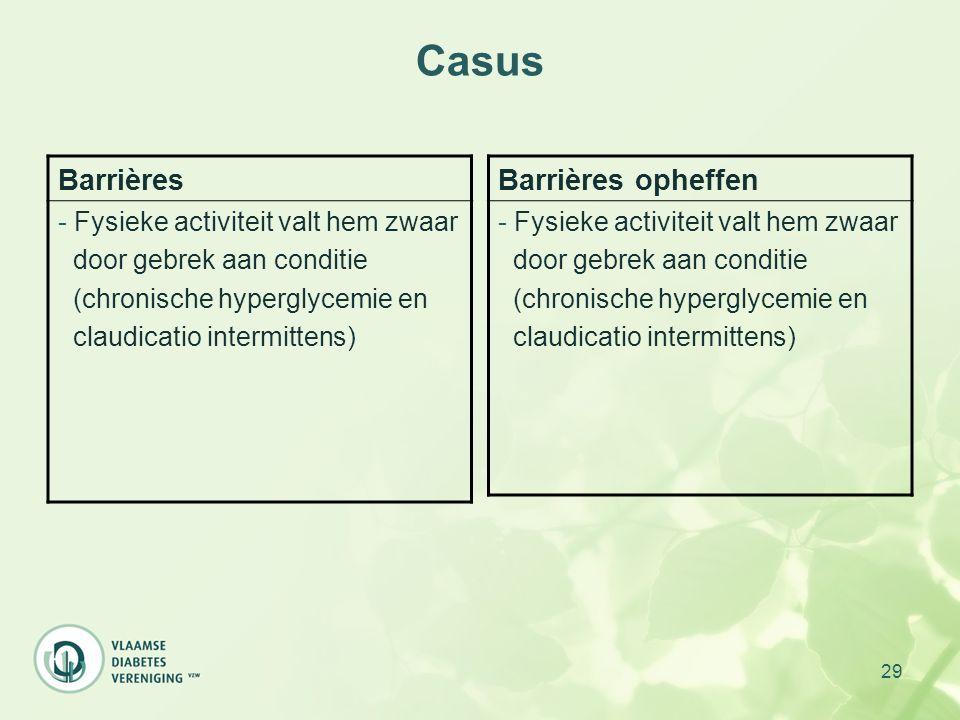 29 Casus Barrières - Fysieke activiteit valt hem zwaar door gebrek aan conditie (chronische hyperglycemie en claudicatio intermittens) Barrières ophef