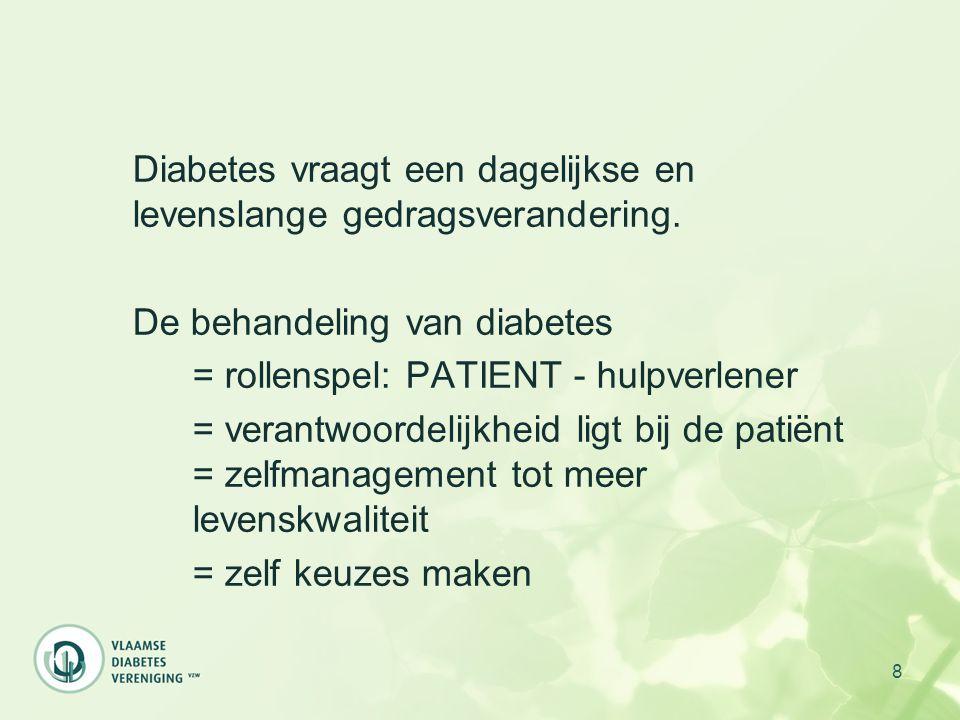 8 Diabetes vraagt een dagelijkse en levenslange gedragsverandering. De behandeling van diabetes = rollenspel: PATIENT - hulpverlener = verantwoordelij