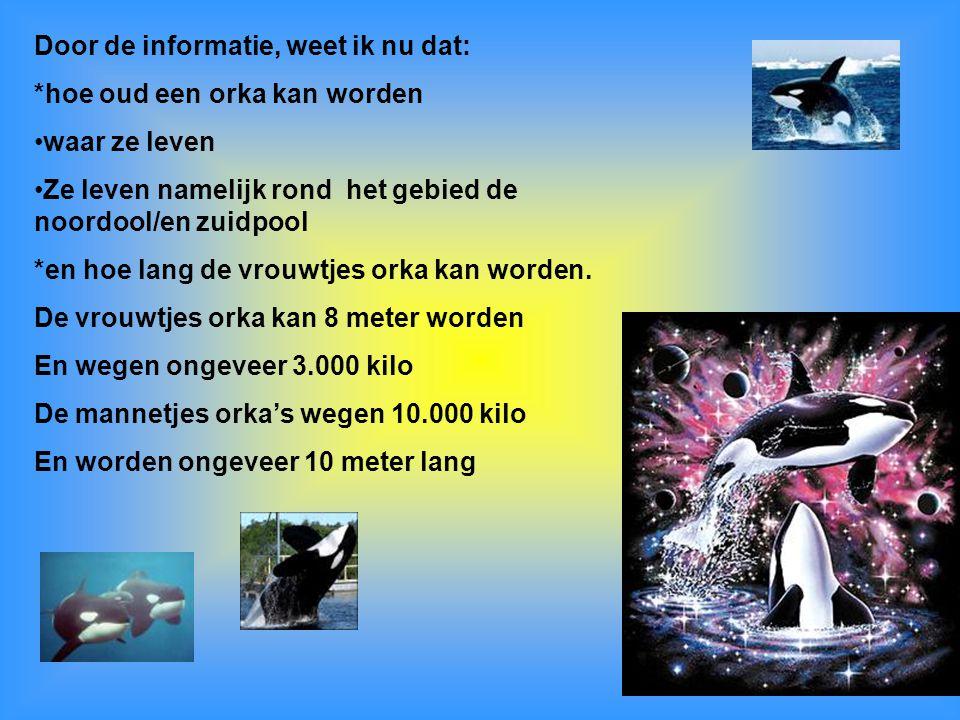 Door de informatie, weet ik nu dat: *hoe oud een orka kan worden waar ze leven Ze leven namelijk rond het gebied de noordool/en zuidpool *en hoe lang