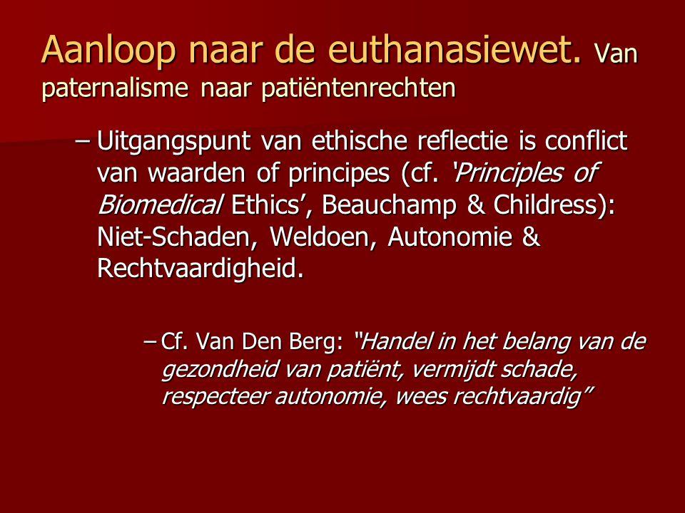 Aanloop naar de euthanasiewet. Van paternalisme naar patiëntenrechten –Uitgangspunt van ethische reflectie is conflict van waarden of principes (cf. '