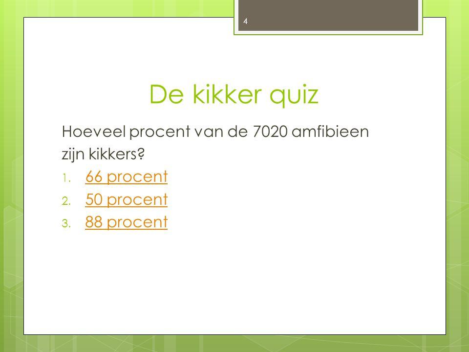 De kikker quiz Hoeveel procent van de 7020 amfibieen zijn kikkers? 1. 66 procent 66 procent 2. 50 procent 50 procent 3. 88 procent 88 procent 4