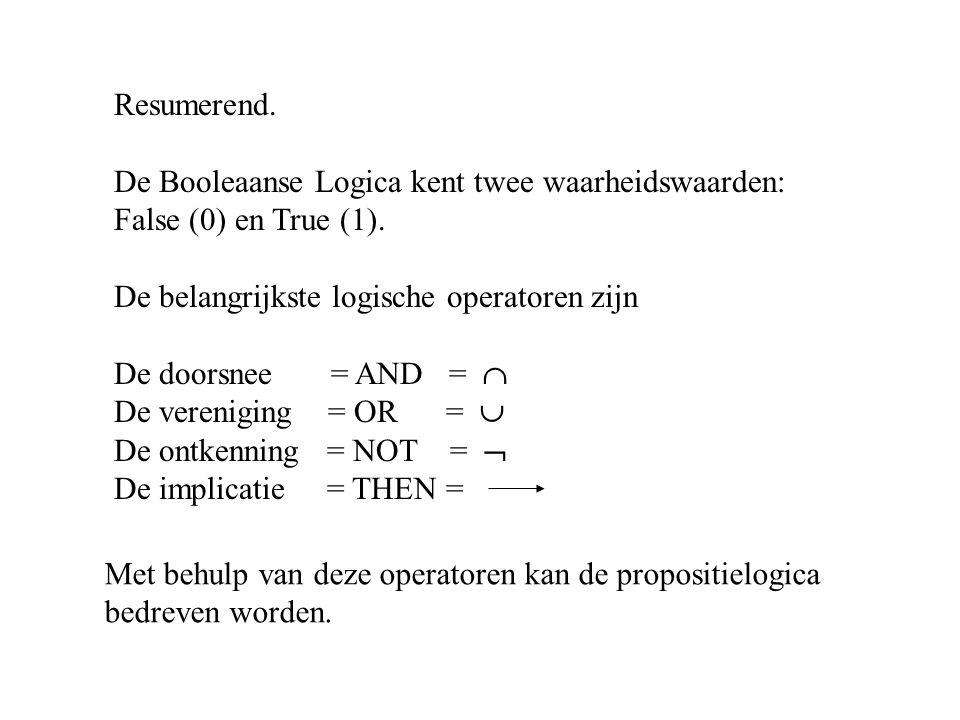 Resumerend. De Booleaanse Logica kent twee waarheidswaarden: False (0) en True (1).