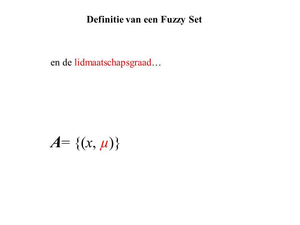 A = {(x, µ)} en de lidmaatschapsgraad… Definitie van een Fuzzy Set