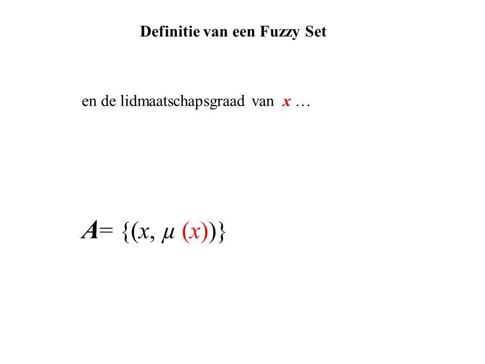 A = {(x, µ (x))} en de lidmaatschapsgraad van x … Definitie van een Fuzzy Set